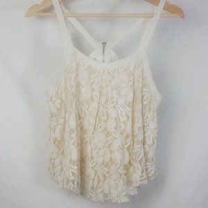 Free People Small Ivory Lace Trapeze Tank Lined
